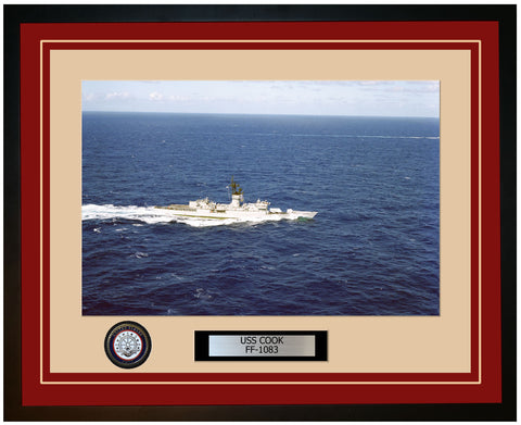 USS COOK FF-1083 Framed Navy Ship Photo Burgundy