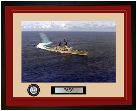 USS FOX CG-33 Framed Navy Ship Photo Burgundy