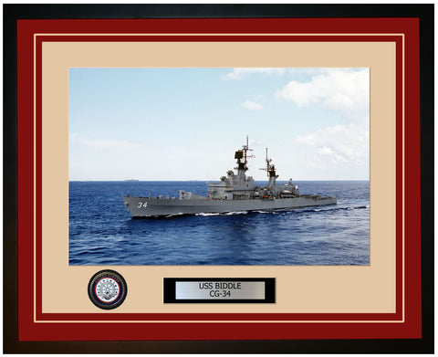 USS BIDDLE CG-34 Framed Navy Ship Photo Burgundy