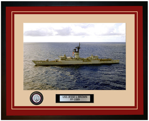 USS JESSE L BROWN FF-1089 Framed Navy Ship Photo Burgundy