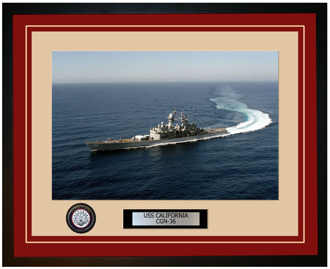 USS CALIFORNIA CGN-36 Framed Navy Ship Photo Burgundy