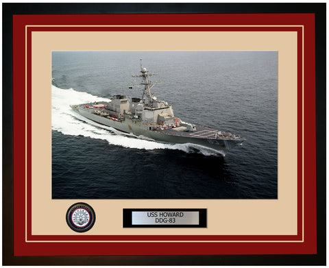 USS HOWARD DDG-83 Framed Navy Ship Photo Burgundy