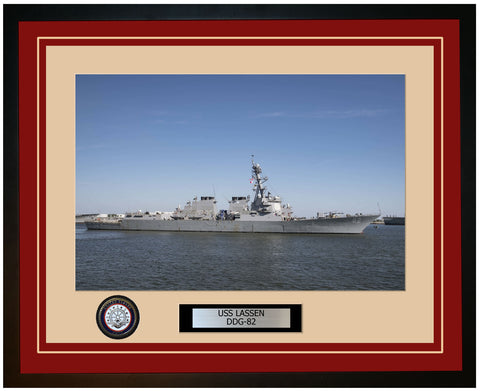 USS LASSEN DDG-82 Framed Navy Ship Photo Burgundy