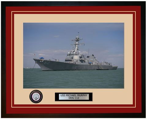 USS MICHAEL MURPHY DDG-112 Framed Navy Ship Photo Burgundy