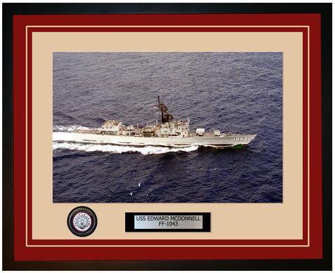 USS EDWARD MCDONNELL FF-1043 Framed Navy Ship Photo Burgundy