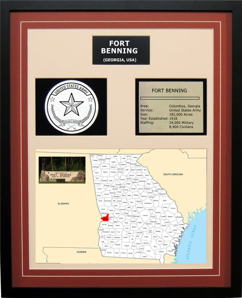Fort Benning - Framed Army Base Photo Plaque