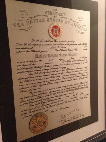 Engraved and Framed Coast Guard Promotion Certificate