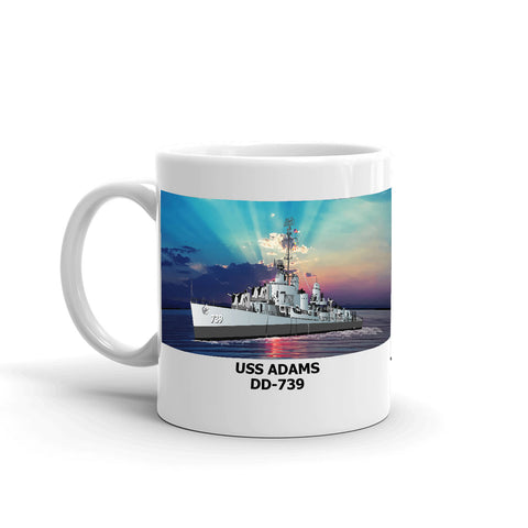 USS Adams DD-739 Coffee Cup Mug Left Handle