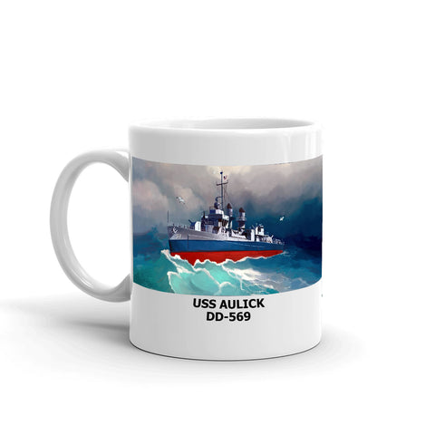 USS Aulick DD-569 Coffee Cup Mug Left Handle