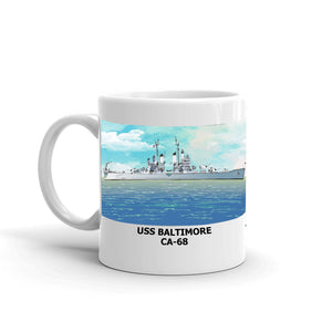 USS Baltimore CA-68 Coffee Cup Mug Left Handle