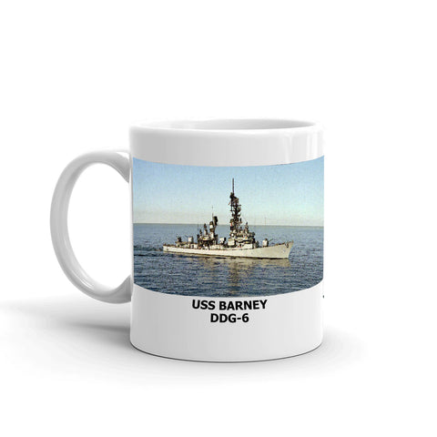 USS Barney DDG-6 Coffee Cup Mug Left Handle