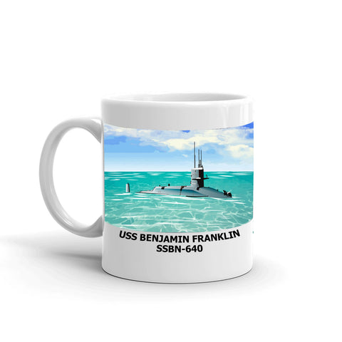 USS Benjamin Franklin SSBN-640 Coffee Cup Mug Left Handle