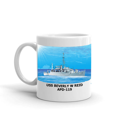 USS Beverly W Reid APD-119 Coffee Cup Mug Left Handle