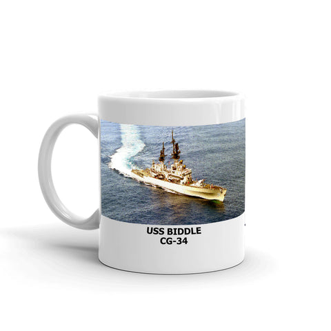 USS Biddle CG-34 Coffee Cup Mug Left Handle