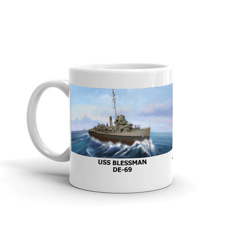 USS Blessman DE-69 Coffee Cup Mug Left Handle