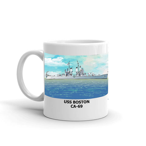 USS Boston CA-69 Coffee Cup Mug Left Handle