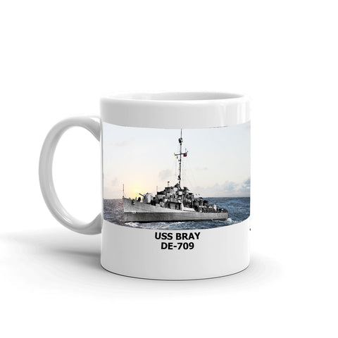 USS Bray DE-709 Coffee Cup Mug Left Handle