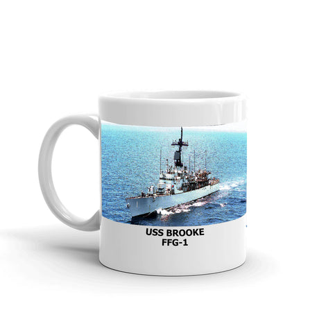 USS Brooke FFG-1 Coffee Cup Mug Left Handle