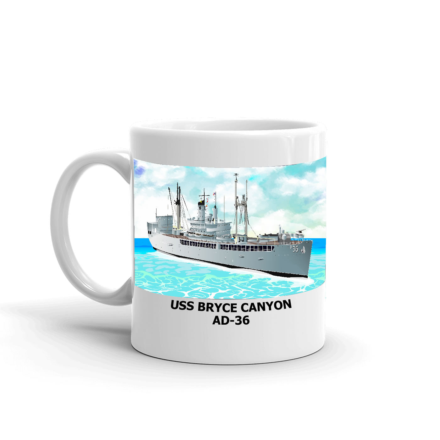 USS Bryce Canyon AD-36 Coffee Cup Mug Left Handle