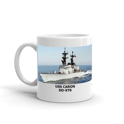 USS Caron DD-970 Coffee Cup Mug Left Handle