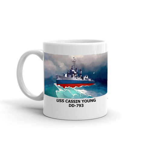USS Cassin Young DD-793 Coffee Cup Mug Left Handle