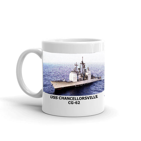 USS Chancellorsville CG-62 Coffee Cup Mug Left Handle