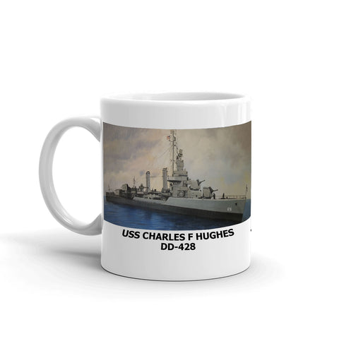 USS Charles F Hughes DD-428 Coffee Cup Mug Left Handle