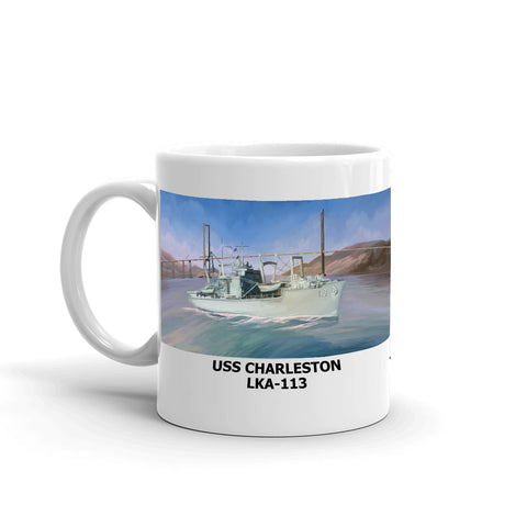 USS Charleston LKA-113 Coffee Cup Mug Left Handle