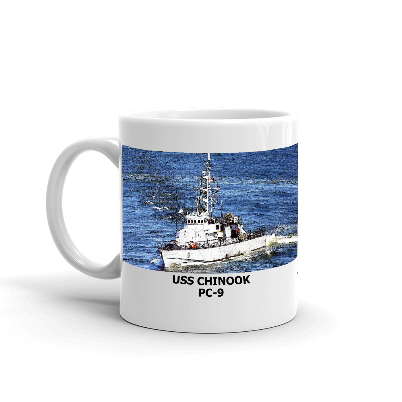 USS Chinook PC-9 Coffee Cup Mug Left Handle