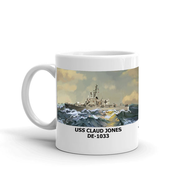 USS Claud Jones DE-1033 Coffee Cup Mug Left Handle
