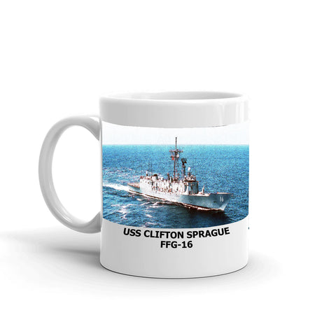USS Clifton Sprague FFG-16 Coffee Cup Mug Left Handle