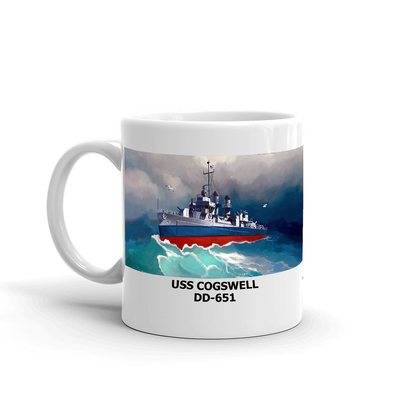 USS Cogswell DD-651 Coffee Cup Mug Left Handle