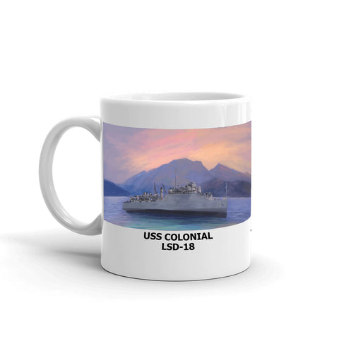 USS Colonial LSD-18 Coffee Cup Mug Left Handle