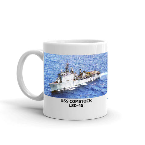USS Comstock LSD-45 Coffee Cup Mug Left Handle