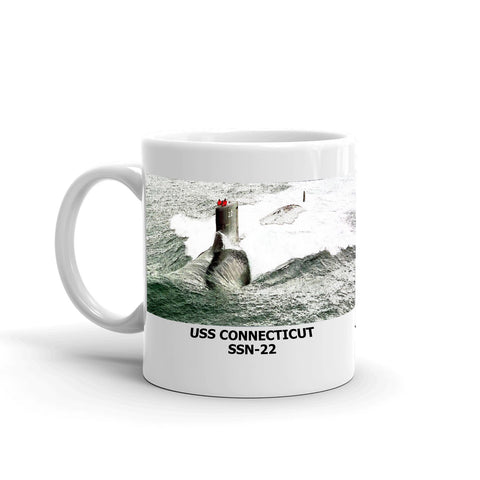 USS Connecticut SSN-22 Coffee Cup Mug Left Handle