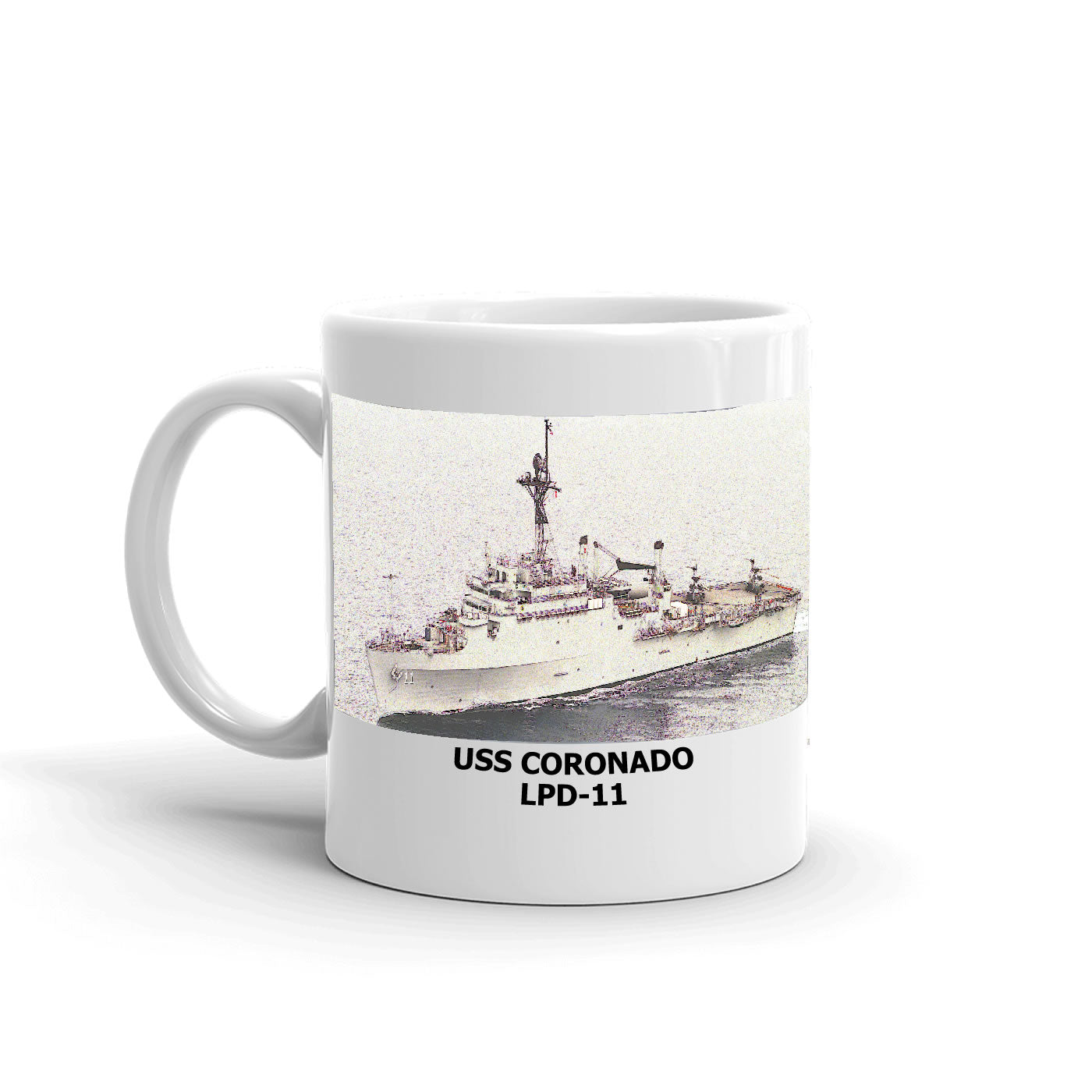 USS Coronado LPD-11 Coffee Cup Mug Left Handle