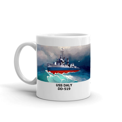 USS Daly DD-519 Coffee Cup Mug Left Handle