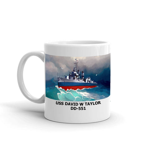 USS David W Taylor DD-551 Coffee Cup Mug Left Handle