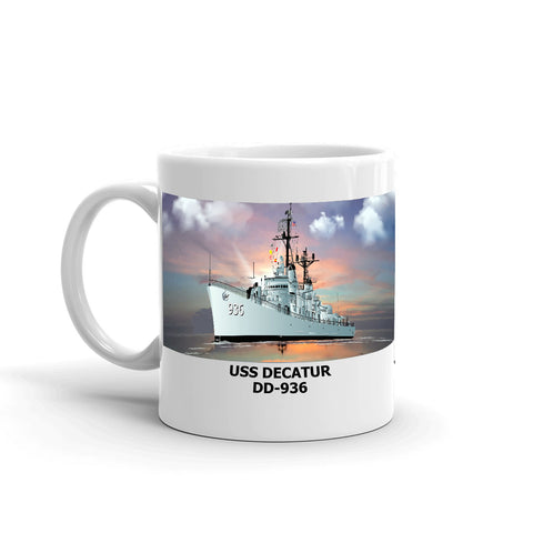 USS Decatur DD-936 Coffee Cup Mug Left Handle