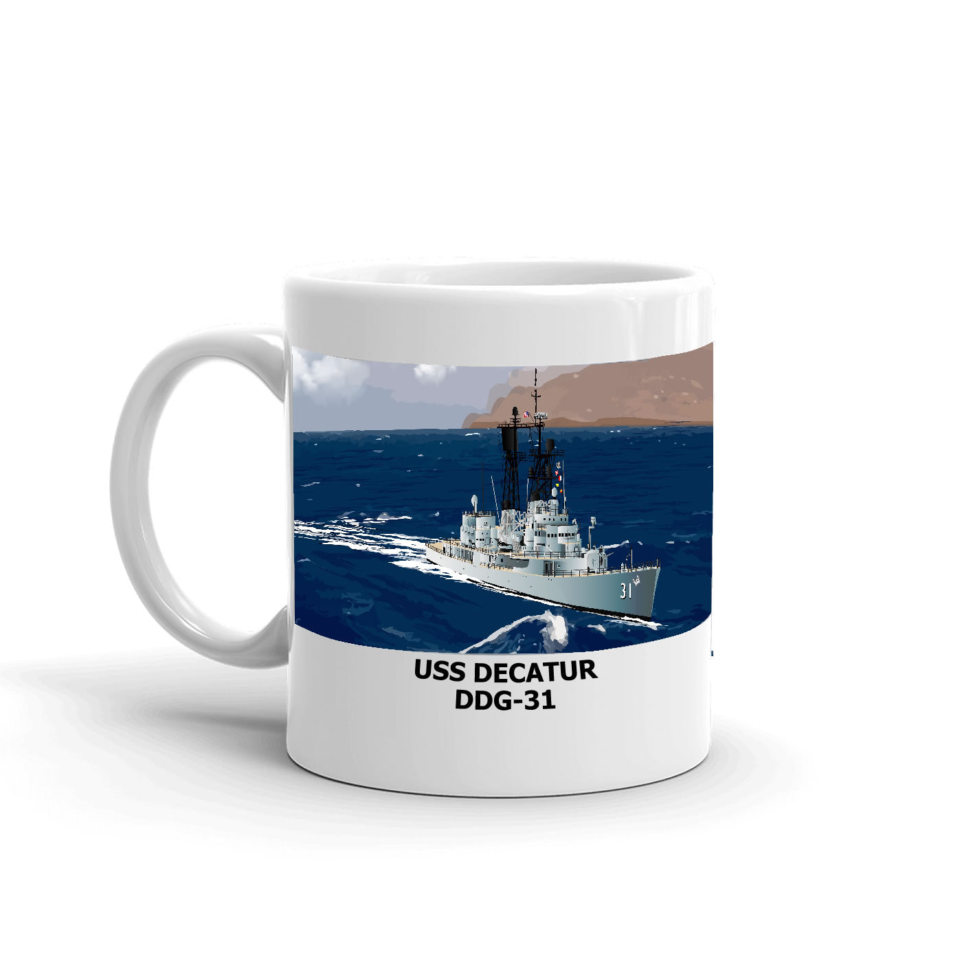 USS Decatur DDG-31 Coffee Cup Mug Left Handle