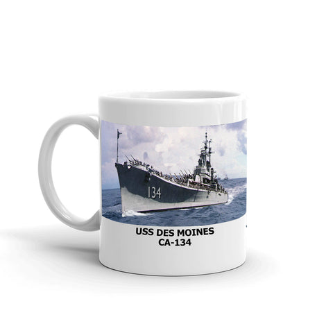 USS Des Moines CA-134 Coffee Cup Mug Left Handle