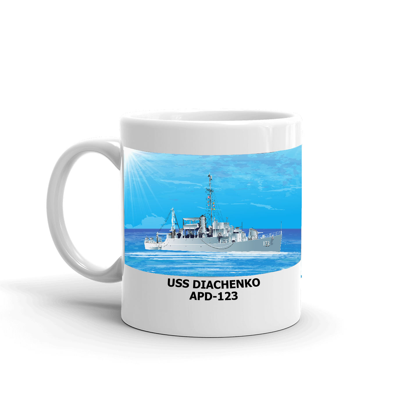 USS Diachenko APD-123 Coffee Cup Mug Left Handle
