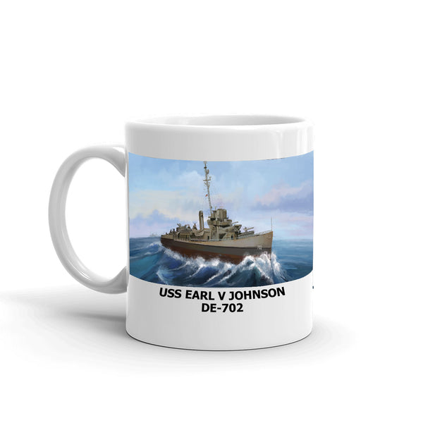 USS Earl V Johnson DE-702 Coffee Cup Mug Left Handle