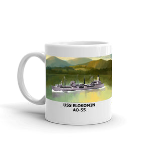 USS Elokomin AO-55 Coffee Cup Mug Left Handle