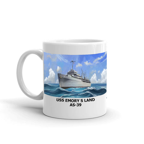 USS Emory S Land AS-39 Coffee Cup Mug Left Handle
