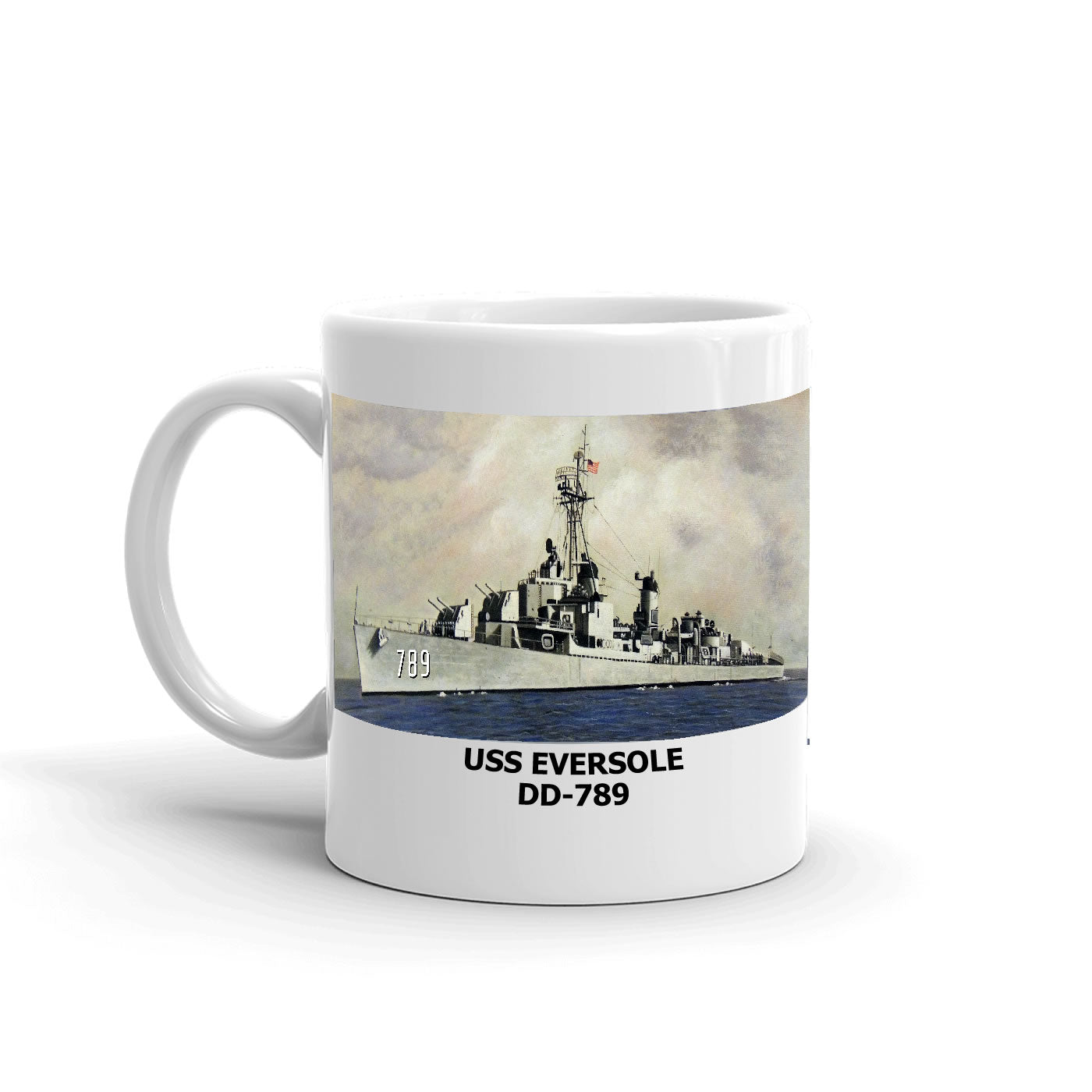 USS Eversole DD-789 Coffee Cup Mug Left Handle