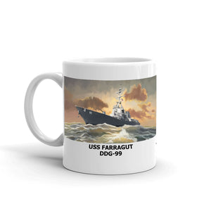 USS Farragut DDG-99 Coffee Cup Mug Left Handle