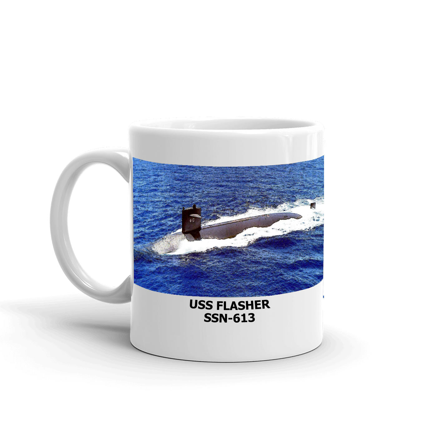 USS Flasher SSN-613 Coffee Cup Mug Left Handle