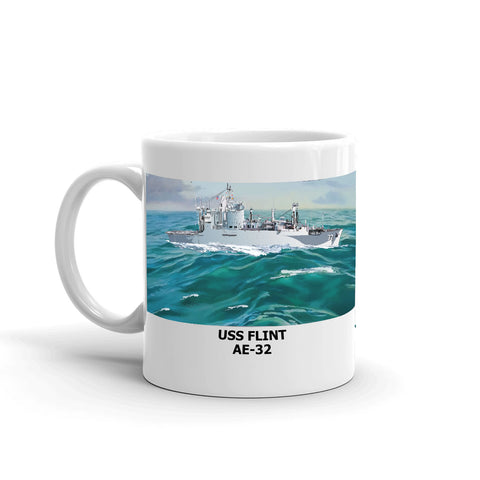 USS Flint AE-32 Coffee Cup Mug Left Handle
