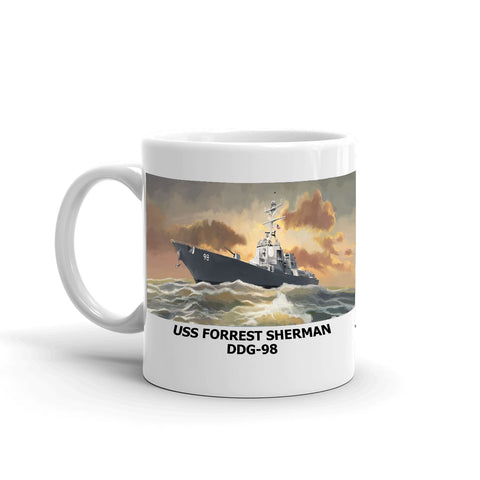 USS Forrest Sherman DDG-98 Coffee Cup Mug Left Handle